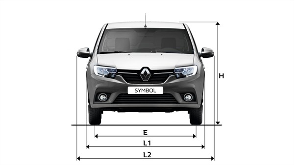 Renault SYMBOL - Front view with dimensions