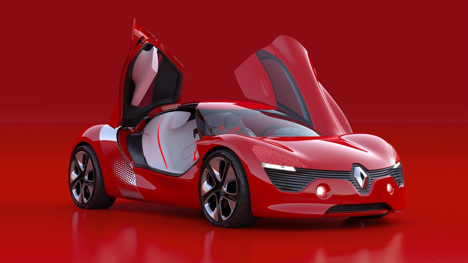 Renault DEZIR Concept - 3/4 front view on red background with side doors open